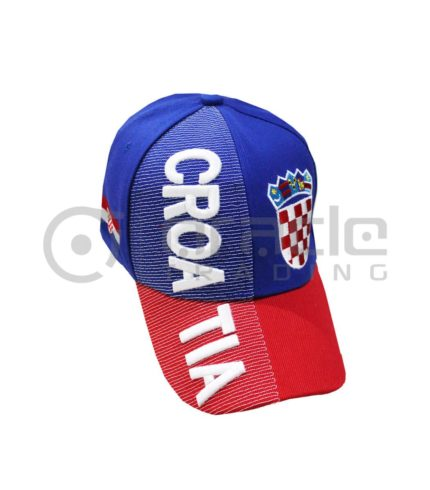 3D Croatia Hat - Blue/Red