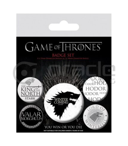 Game of Thrones Stark Badge Pack