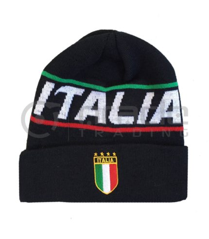 Italia Fold-up Beanie (Black)