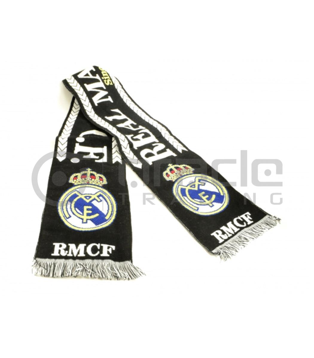 real madrid knitted scarf black made in spain oracle trading inc. Black Bedroom Furniture Sets. Home Design Ideas