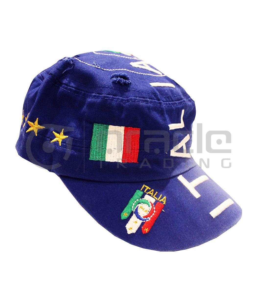 Italia Distressed Army Hat - Blue
