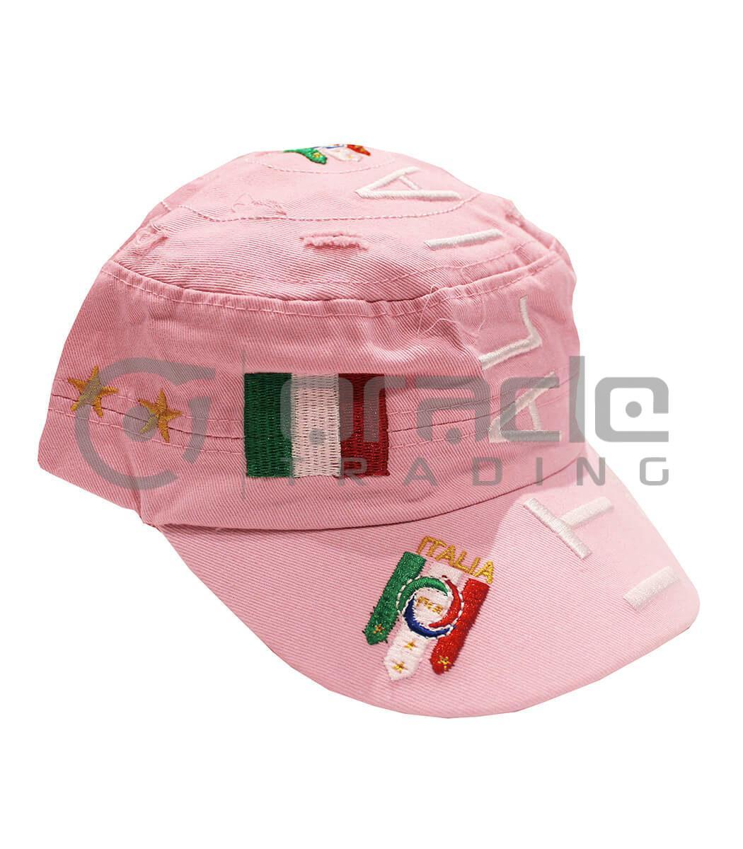 Italia Distressed Army Hat - Pink