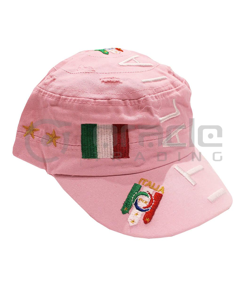 Italia Distressed Army Hat - Pink