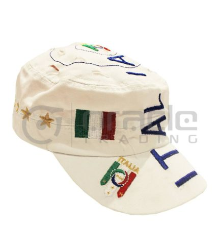 Italia Distressed Army Hat - White