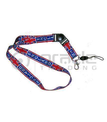 England Lanyard Keychain 12-Pack (Union Jack)