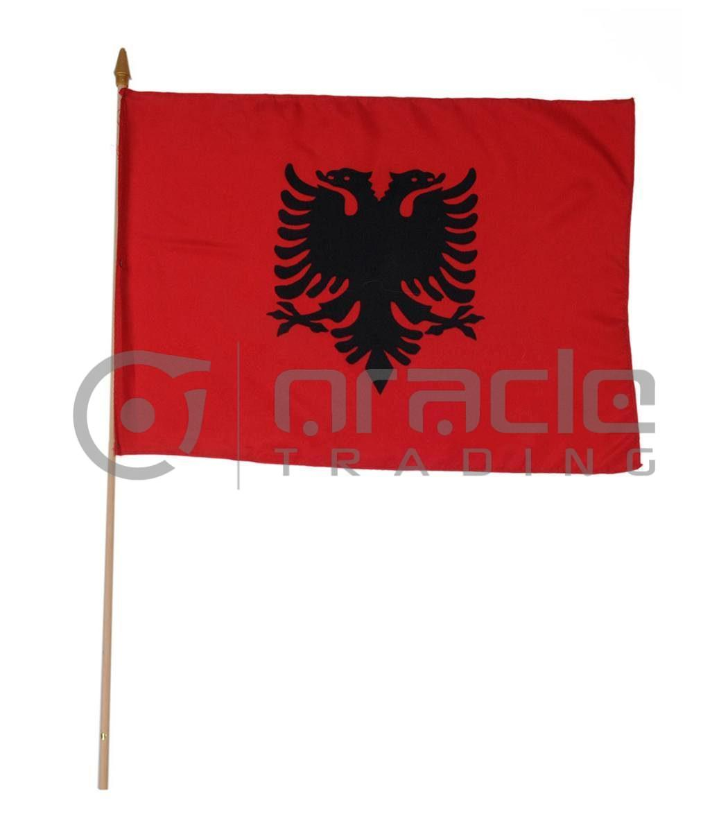 "Albania Large Stick Flag - 12""x18"" - 12-Pack"