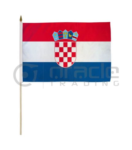 "Croatia Large Stick Flag - 12""x18"" - 12-Pack"