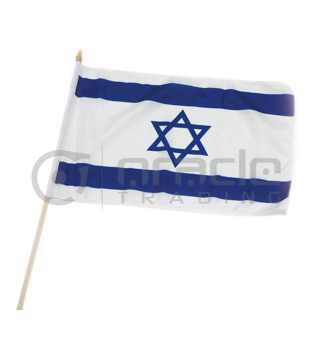 "Israel Large Stick Flag - 12""x18"" - 12-Pack"