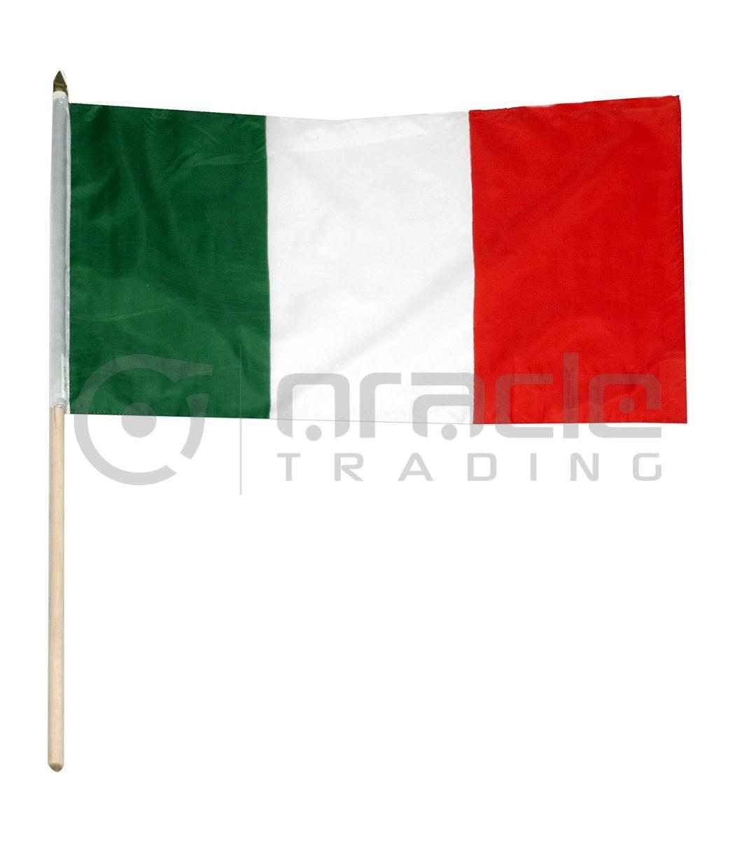 "Italia Large Stick Flag - 12""x18"" - 12-Pack"