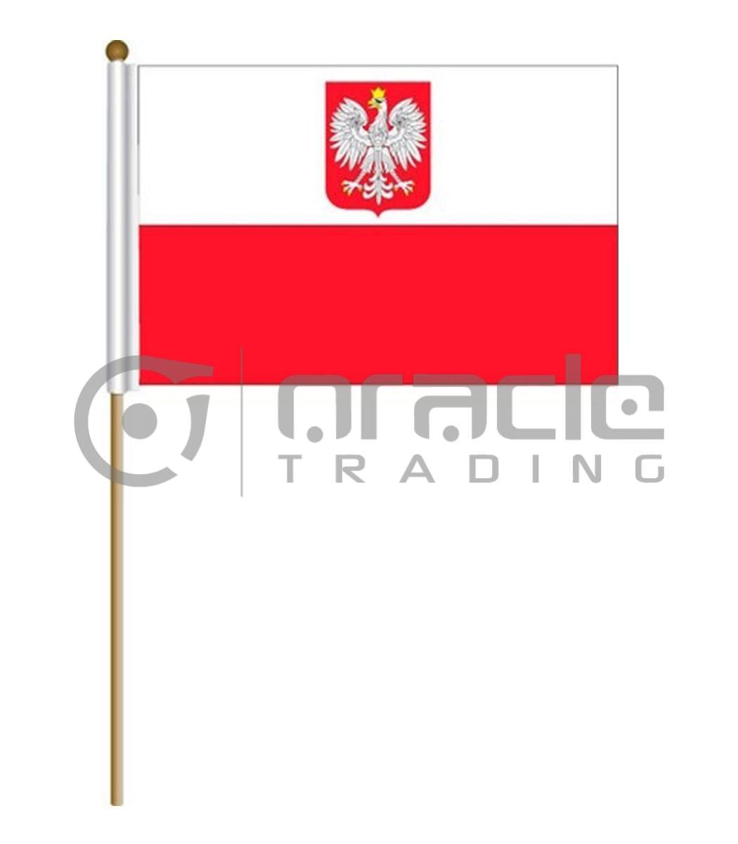 "Poland Large Stick Flag - 12""x18"" - 12-Pack"
