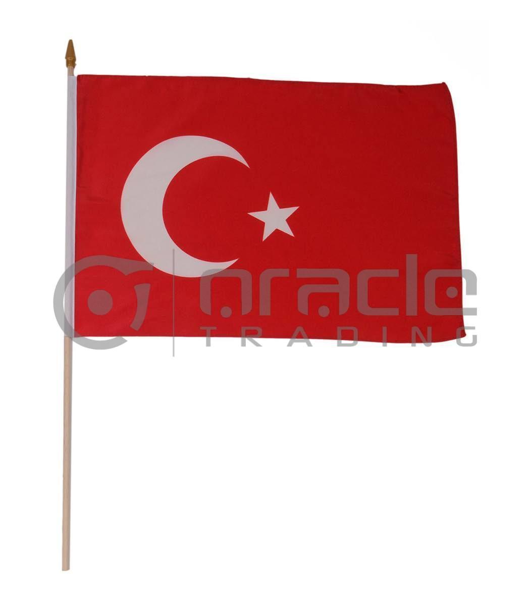 "Turkey Large Stick Flag - 12""x18"" - 12-Pack"