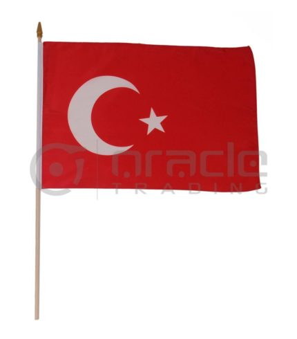 "Turkey Large Stick Flag - 12""x18"" - 12-Pack"
