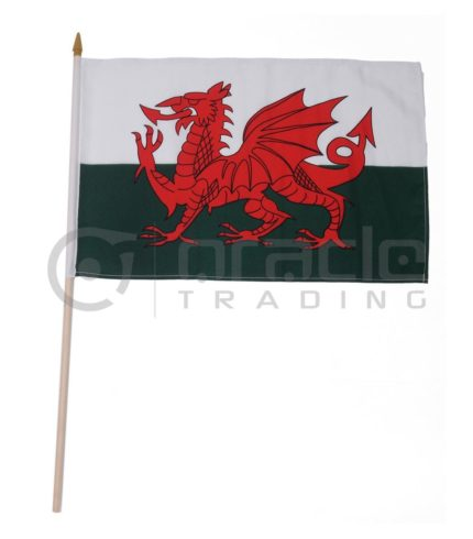 "Wales Large Stick Flag - 12""x18"" - 12-Pack"