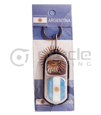 Argentina Flashlight Bottle Opener Keychain 12-Pack