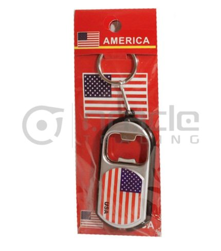 USA Flashlight Bottle Opener Keychain 12-Pack
