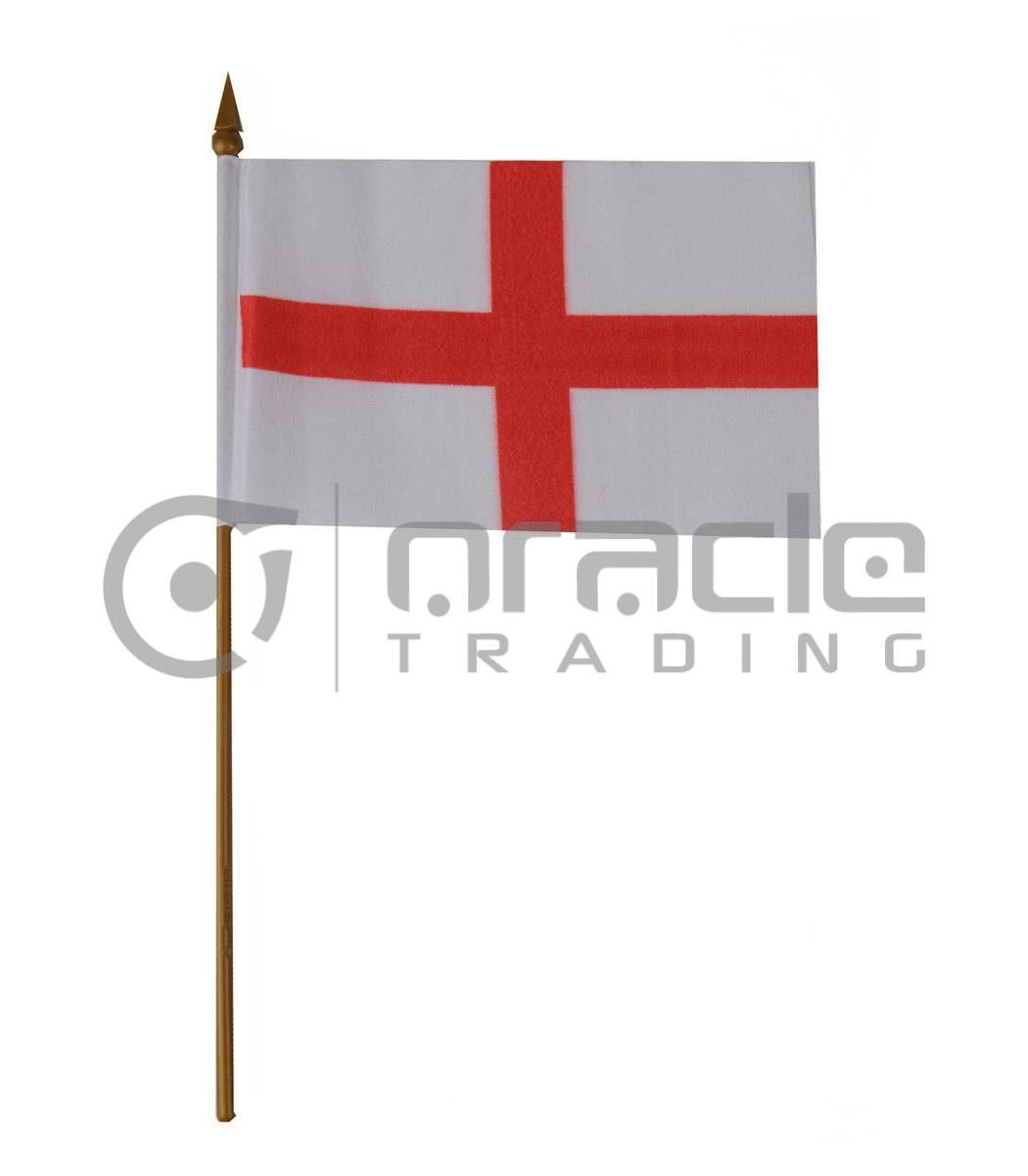 """England Small Stick Flag - 4""""x6"""" - 12-Pack"""