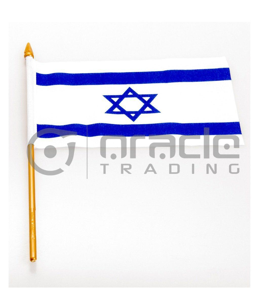 """Israel Small Stick Flag - 4""""x6"""" - 12-Pack"""