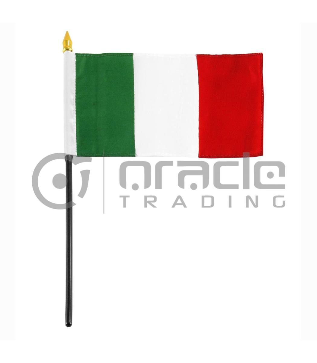 "Italia Small Stick Flag - 4""x6"" - 12-Pack"