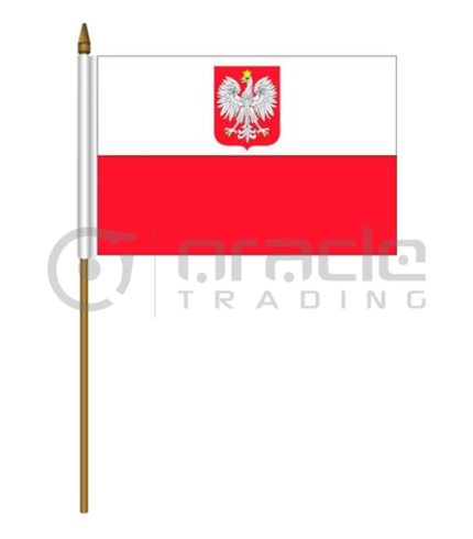 "Poland Small Stick Flag - 4""x6"" - 12-Pack"