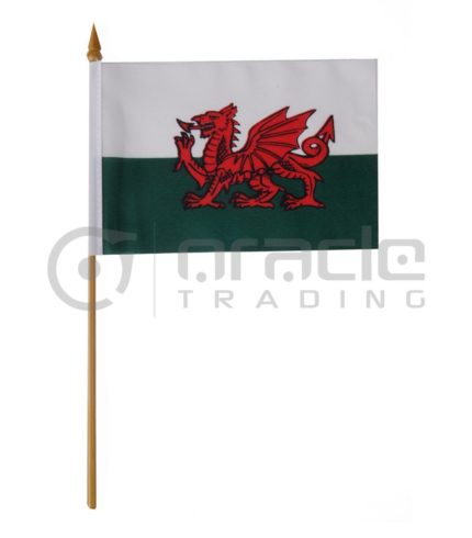 "Wales Small Stick Flag - 4""x6"" - 12-Pack"